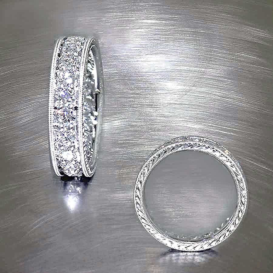Style #11110223: Hand-Engraved Platinum Diamond Eternity Band