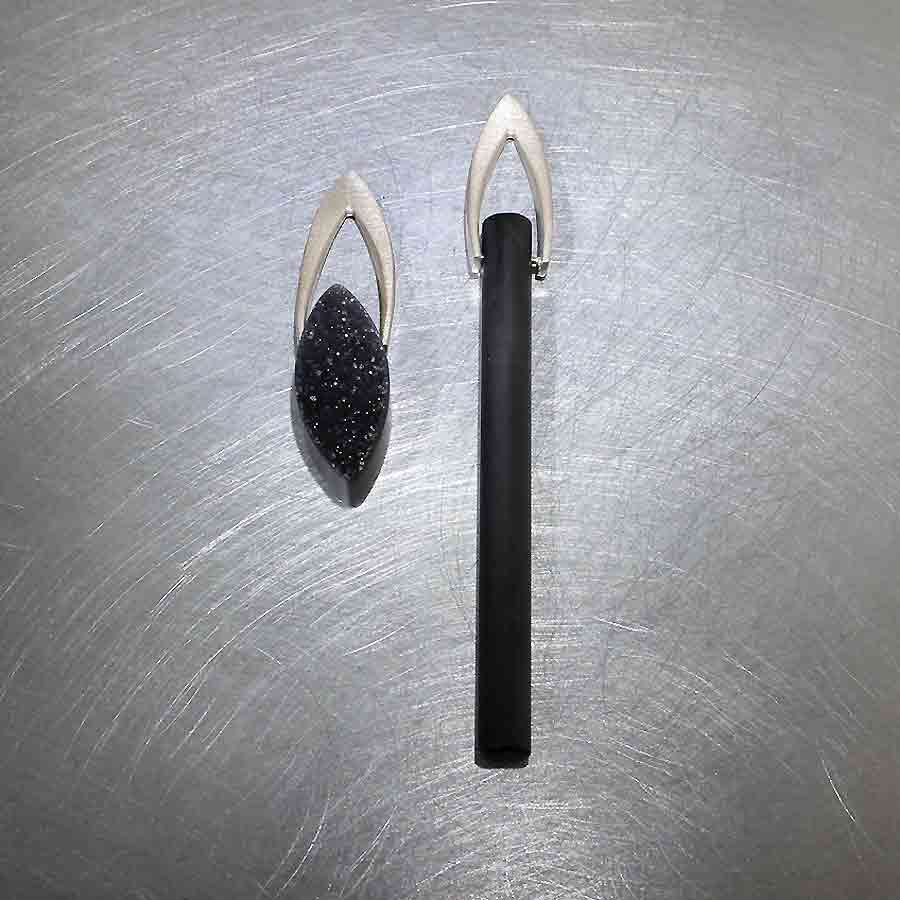 Style #23310995: Sleek Asymmetrical Black Onyx Earrings, 14KW Gold