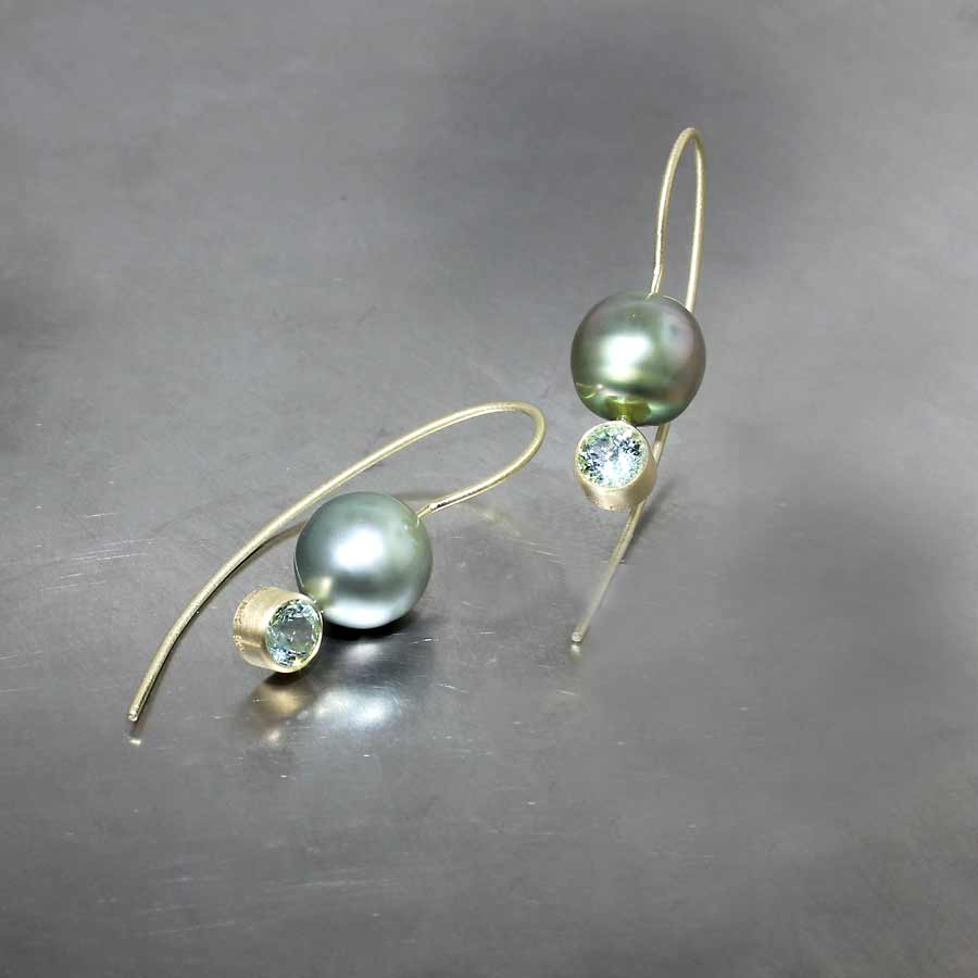 Style #24110668: Sparkling Mint Green Tourmaline & Tahitian Pearl Drop Earrings, 18KY Gold