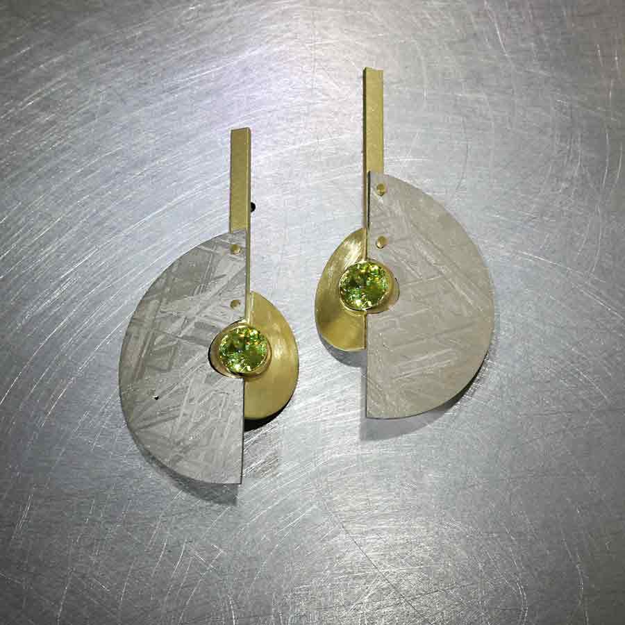 Style #23311002: Exotic Hand-Carved Scandinavian Meteorite Earrings Embellished by Prismatic Green Sphene Gemstones, 18KY Gold
