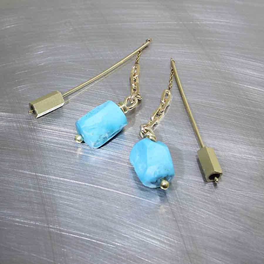 """Style #23311014: Turquoise Nugget """"Threader"""" Earrings"""