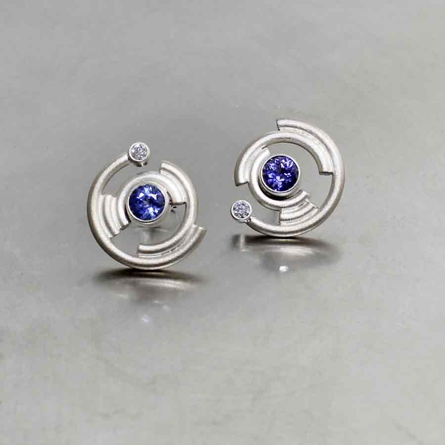 """Style #22710185: Stunning Sapphire & Diamond """"Reverb"""" Earrings, Matte-Finished 14KW Gold"""