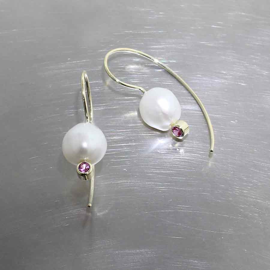 Style #24710081: Freshwater Pearl & Pink Sapphire Wire Hook Earrings, 18KY Gold