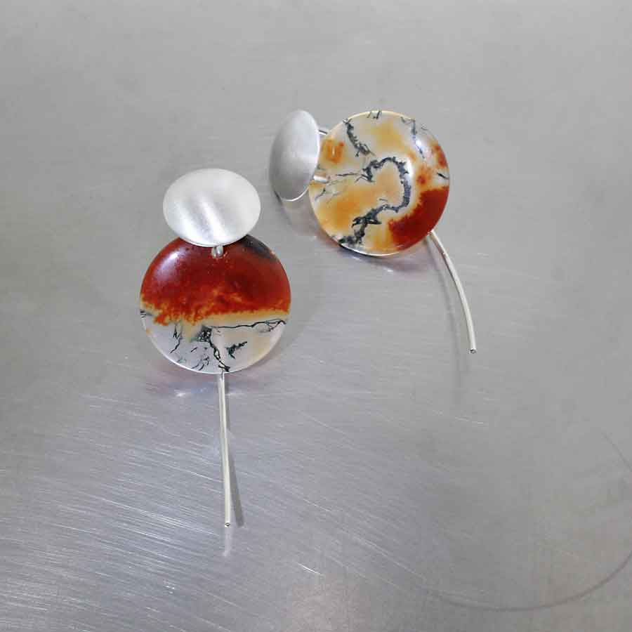 Style #23311044: Wire Hook Earrings Featuring Multi-Color Carnelian/Moss Agate Discs, Sterling Silver