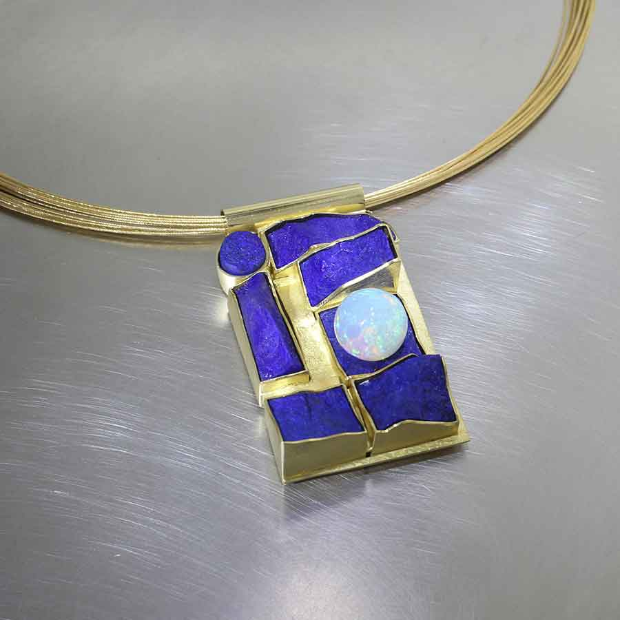 Style #23710315: Custom-Carved Lapis Lazuli Slab Pendant w/ Stunning Ethiopian Opal Sphere, 18KY Gold