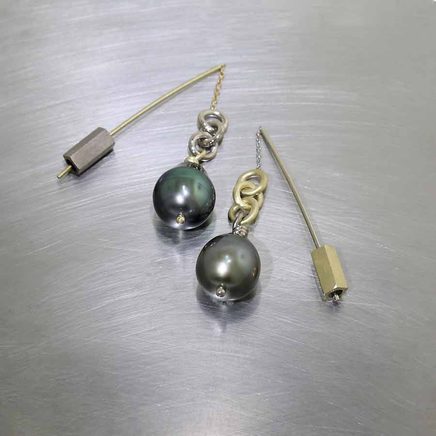 """Style #24110679: Two-Tone Gold Tahitian Pearl """"Threader"""" Earrings"""