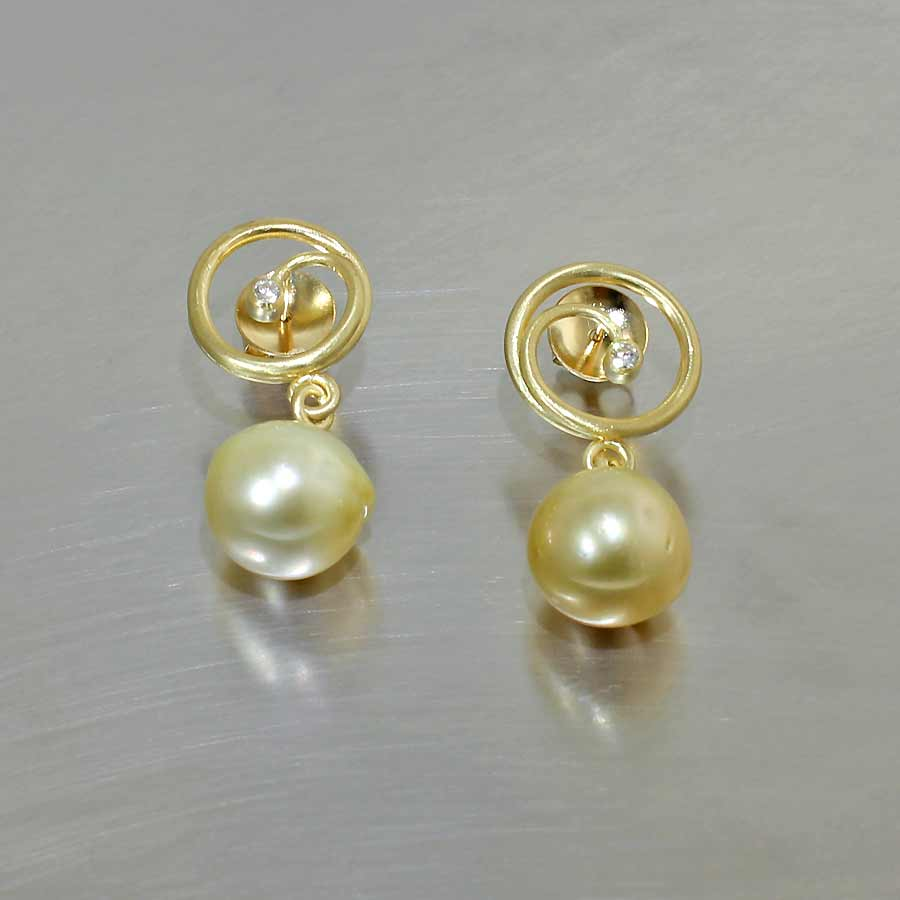 Style #24110680: Feminine Golden South Sea Pearl Earrings w/ 18KY Gold Wire Spirals & Sparkling Diamond Accents