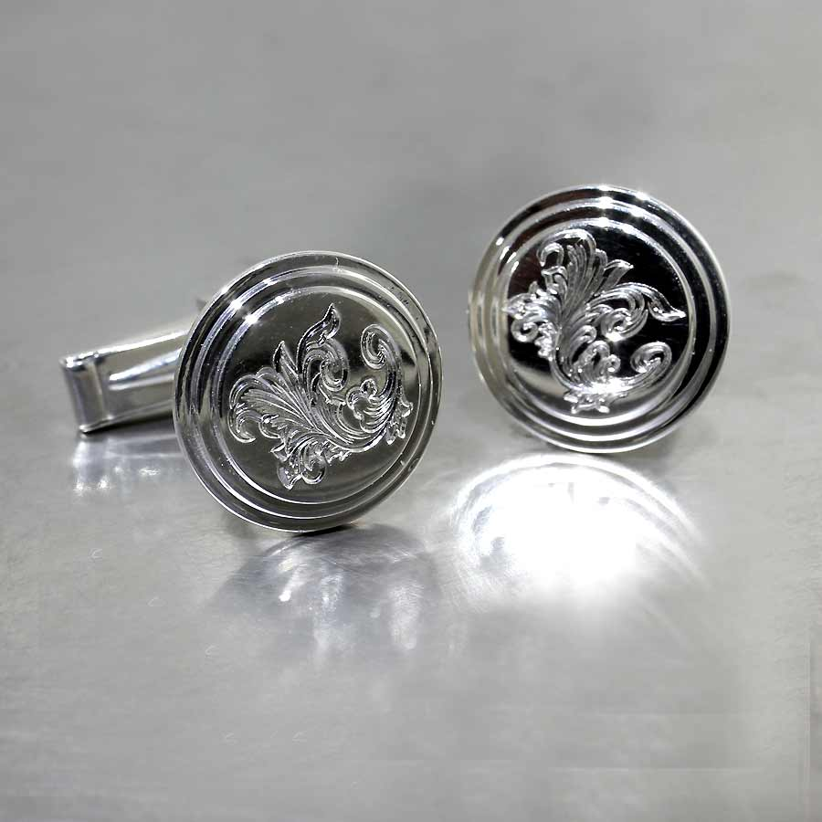 Style #28510006: Hand-Engraved Circle Disc Cuff Links, Sterling Silver