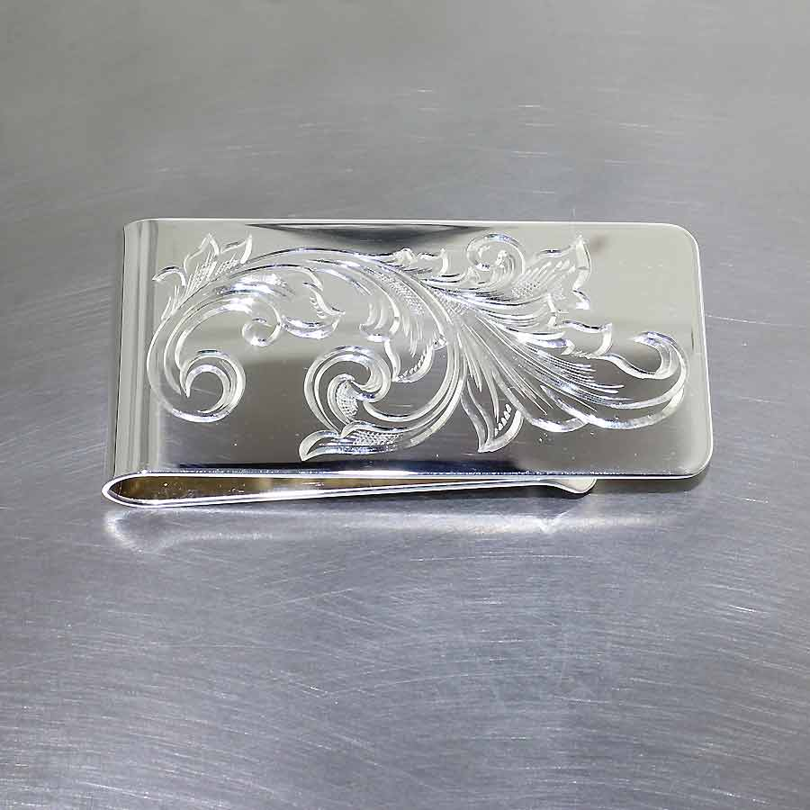 Style #29010214: Hand-Engraved Floral Motif Money Clip, Polished Sterling Silver