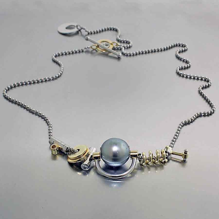 "Style #70010150: ""Parts"" Collection Necklace w/ Tahitian Pearl & Diamonds, 18KY & 14KW Gold"