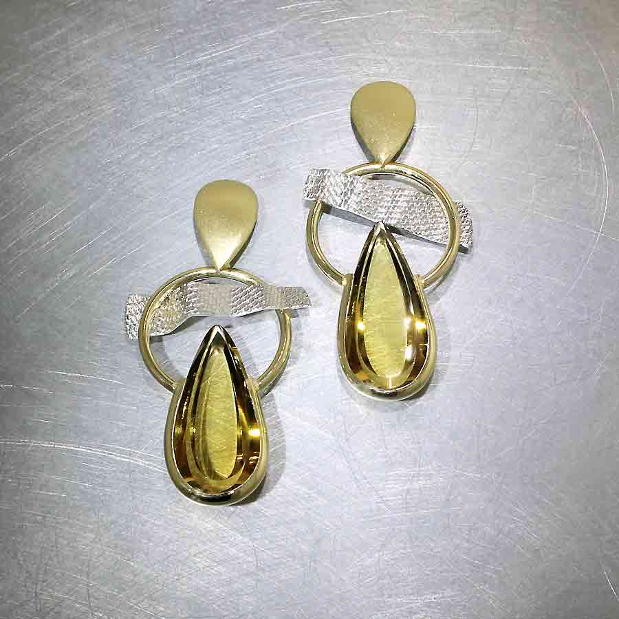Style #23311008: Open Circle Multi-Textured Swing Earrings Featuring 18.11CT Pear-Shape Citrine Gemstones, Platinum & 18KY Gold