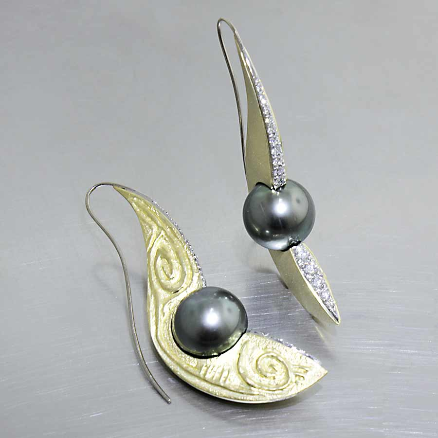 Style #24110672: Bold Tahitian Pearl & Diamond Dangle Earrings Embellished by Hand-Repoussé Relief Pattern, 18KY Gold/Platinum/14KW Gold Hooks