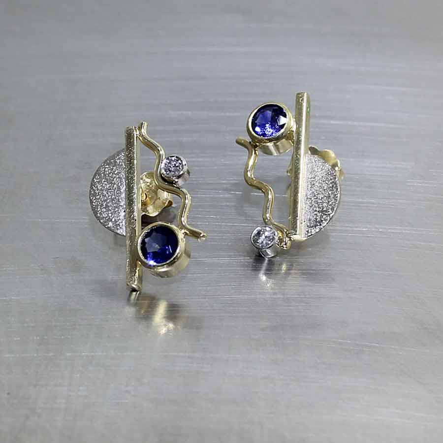 Style #22710178: Textured Sheet & Wire Squiggle Earrings w/ 0.71ct Blue Sapphires & Diamond Accents, 18KY & 14KW Gold