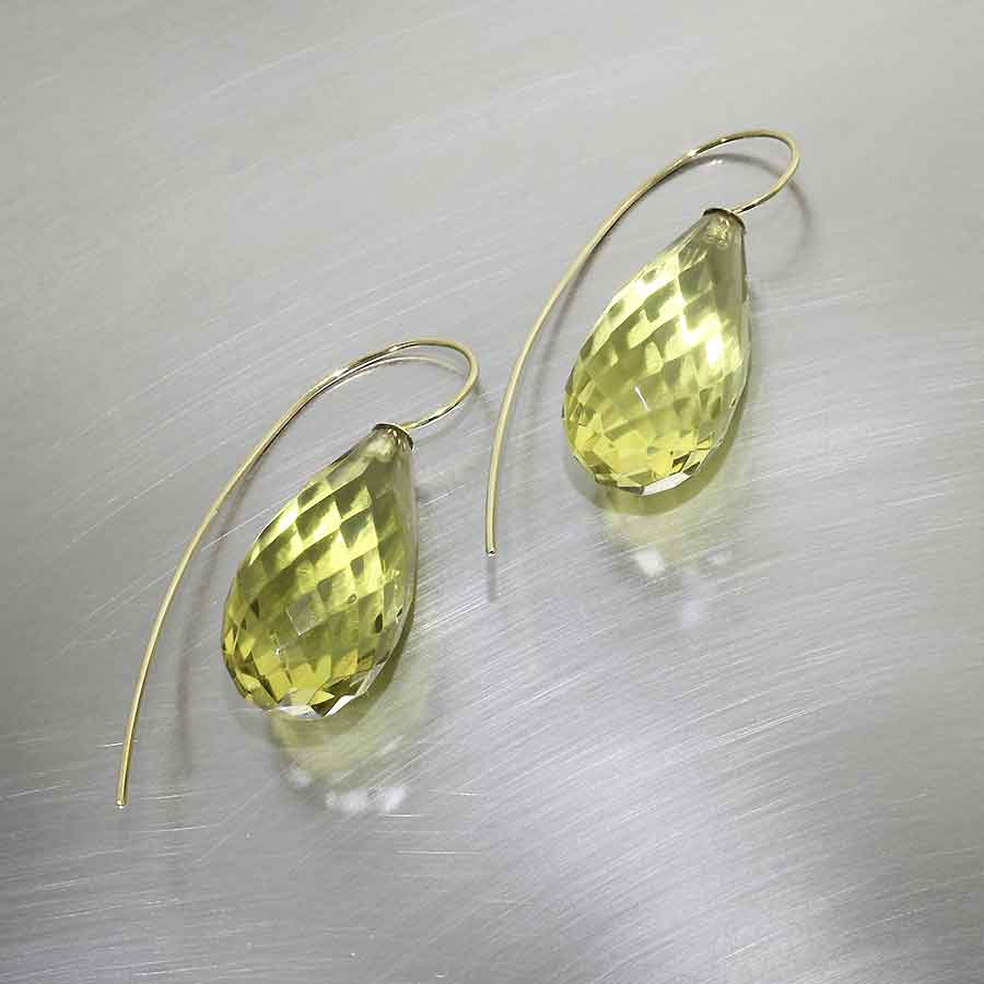 Style #23311046: Ultra-Lightweight Faceted Green Amber Briolette Dangles, 18KY Gold Wire Hooks