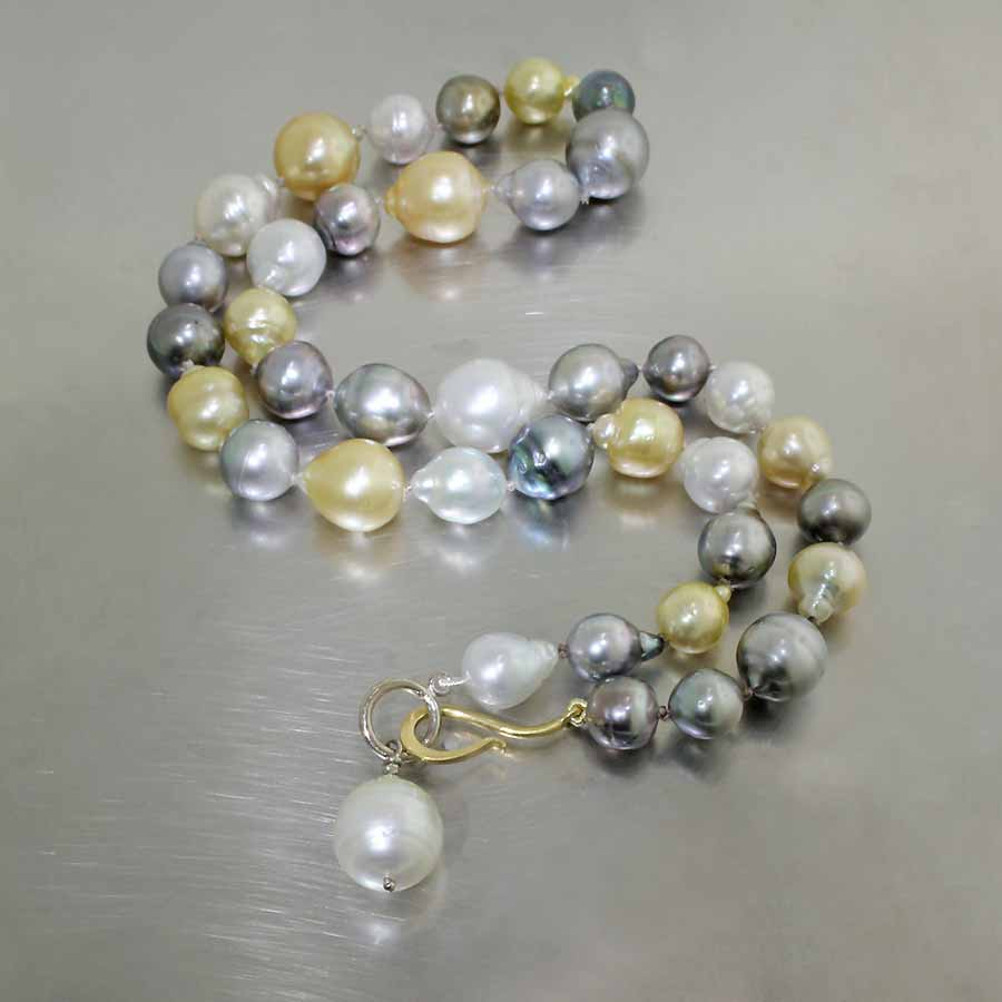 Style #24410114: Luxurious Multi-Color Strand of South Sea & Tahitian Pearls w/ 18KY/14KW Hook Clasp & Single Pearl Drop
