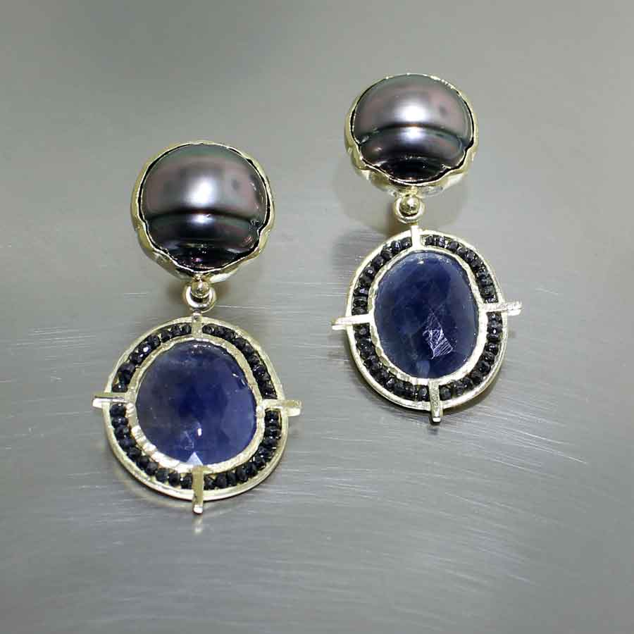 Style #24110690: Cleaved Tahitian Pearl & Rose-Cut Sapphire Drop Earrings w/ Halo of Sparkling Black Diamond Beads, 18KY Gold