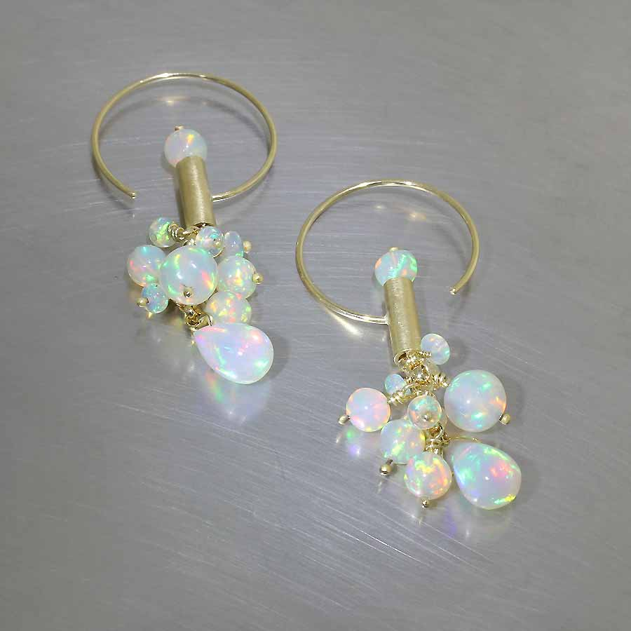 Style #26110068: Electric Ethiopian Opal Bead Cluster C-Hook Drop Earrings, 18KY Gold