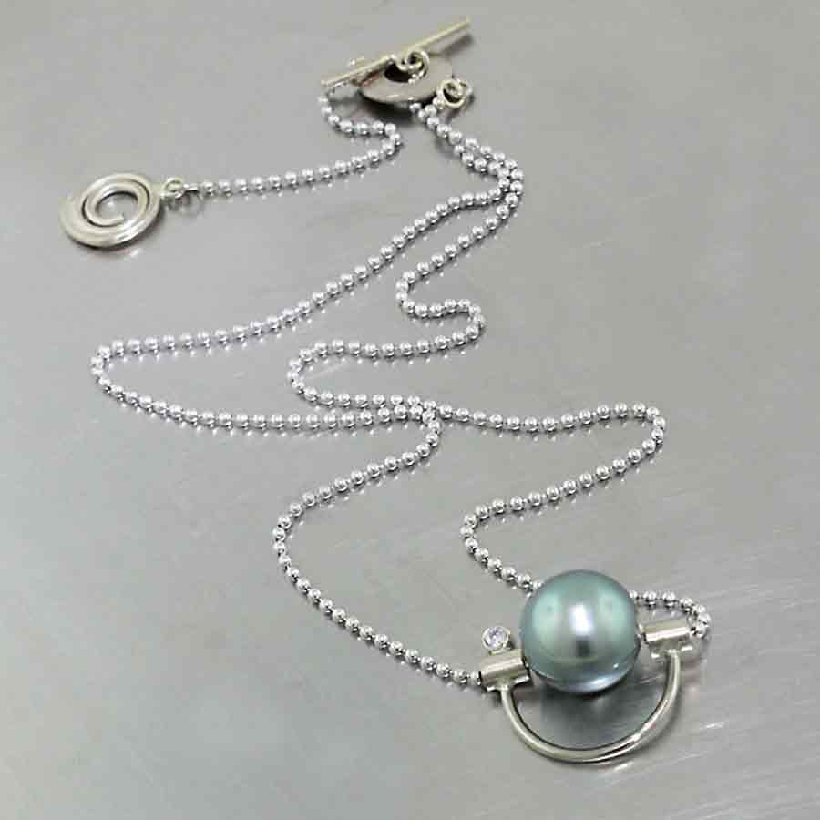 "Style #70010120: ""Parts"" necklace with Tahitian pearl, diamond, 14KW, ball chain"