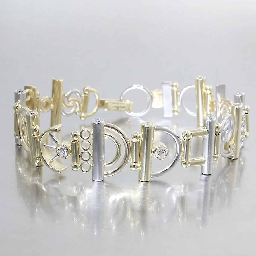 "Style #22310114: Dazzling Two-Tone Diamond ""Parts"" Bracelet"