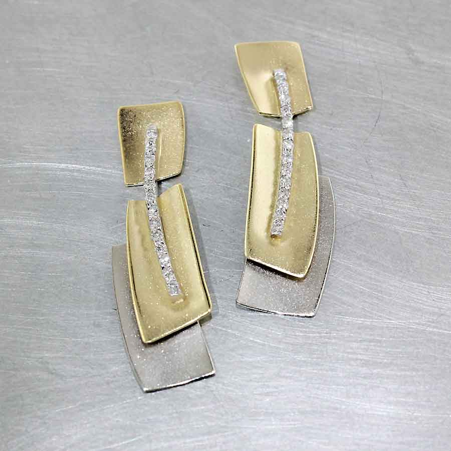 Style #22110539: Two-Tone Geometric Sheet Earrings Accented by Line of Sparkling Bead-Set Diamonds, 18KY & 14KW Gold