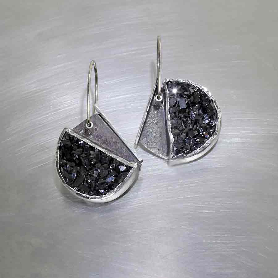 Style #23311028: Rugged Yet Chic Black Druse Semi-Circle Dangle Earrings, Oxidized Sterling Silver