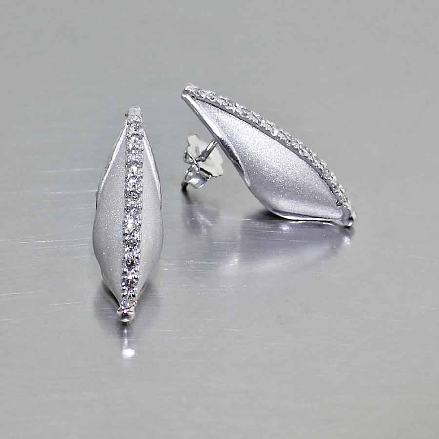 """Style #22110567: Dainty Shimmering """"Peapod"""" Earrings with Line of Bead-Set White Diamonds, 14KW Gold"""