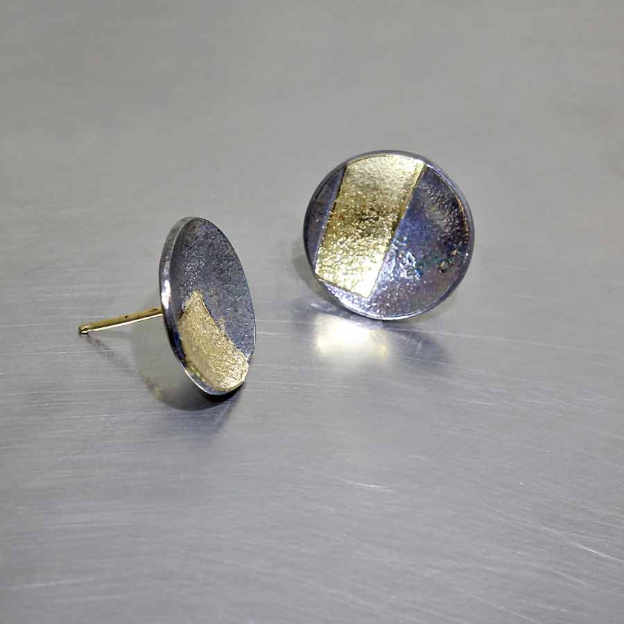 Style #28110426: Interesting Yet Subtle Concave Dish Earrings, Oxidized Sterling Silver & 18KY Gold