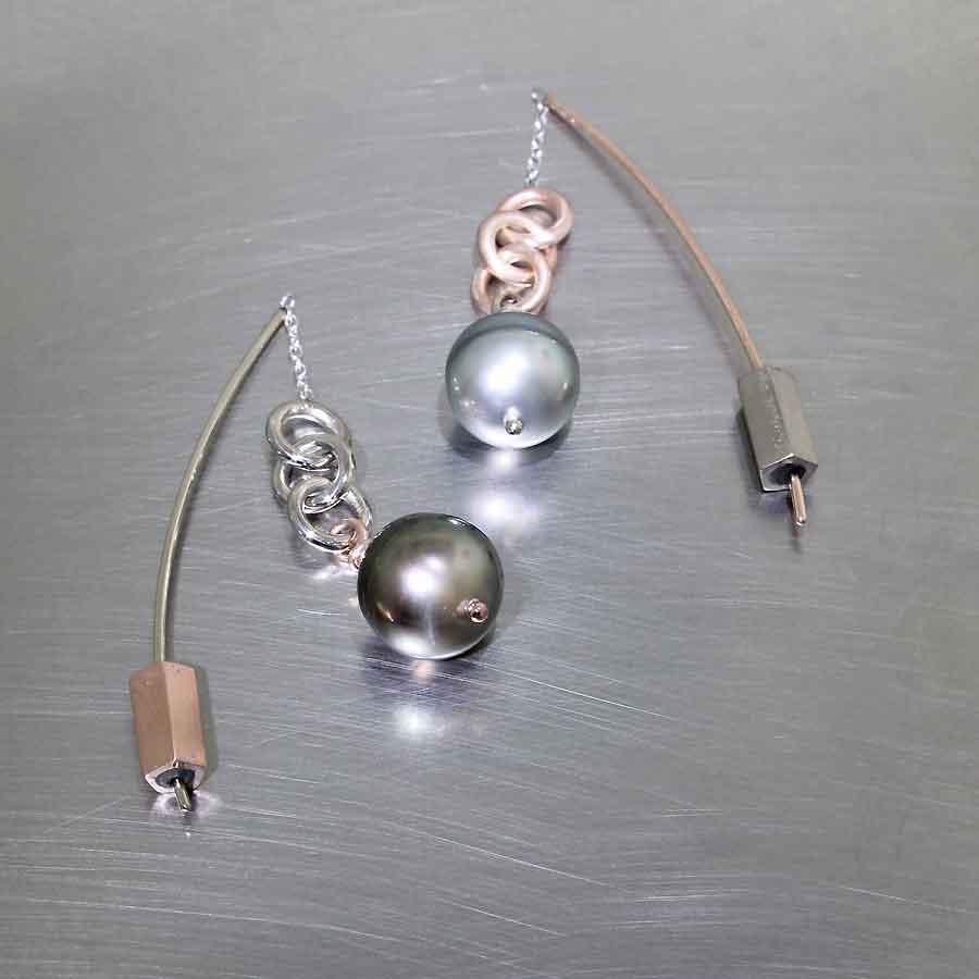 "Style #24110695: Asymmetric Tahitian Pearl ""Threader"" Dangle Earrings, 14K Rose & White Gold"