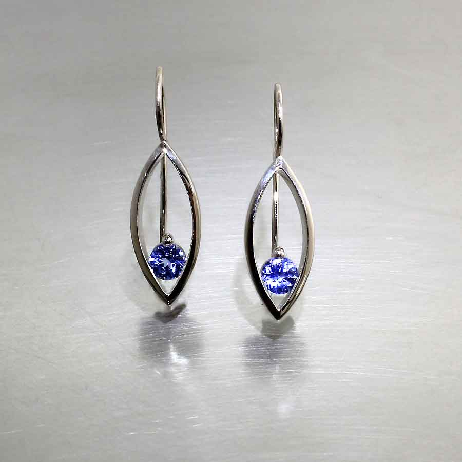 Style #22710188: Faceted Blue Sapphire Open Marquise Earrings, 14KW Gold