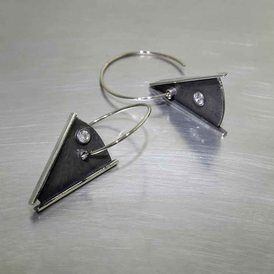 Style #22110568: WIRE HOOK EARRINGS W/ SWINGING DIAMOND-STUDDED TRIANGLE DANGLES, OXIDIZED/BLACKENED STERLING SILVER & 14KW GOLD