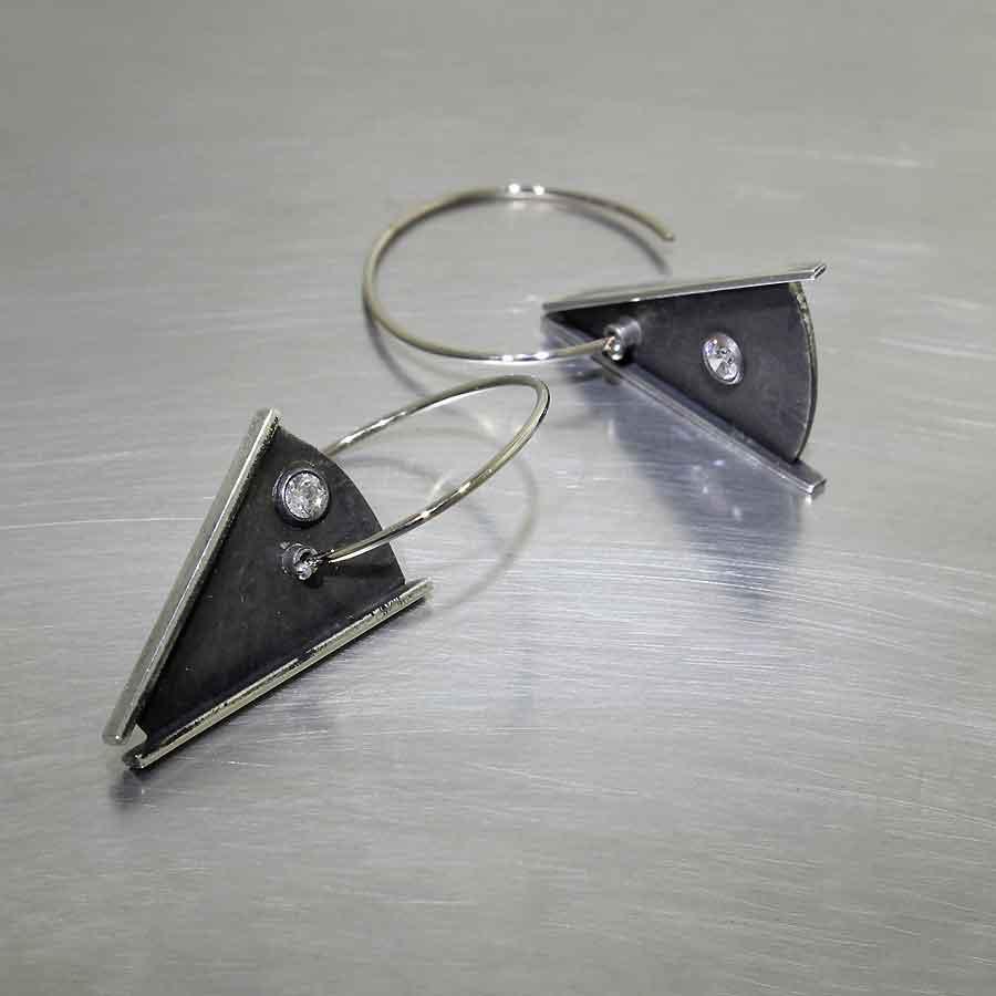 Style #22110568: WIRE HOOK EARRINGS W/ SWINGING DIAMOND-STUDDED TRIANGLE DANGLES, OXIDIZED/BLACKENED STERLING SILVER & 14KW GOLD