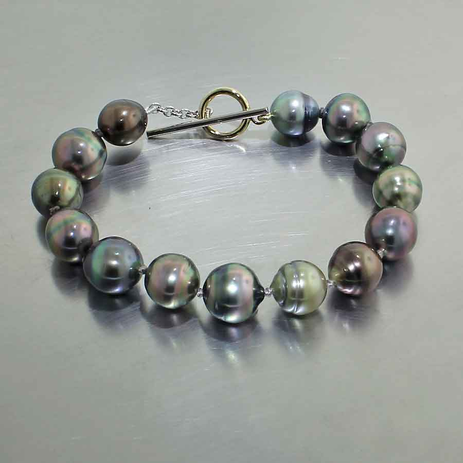 Style #24310070: MULTI-COLOR NATURAL CULTURED TAHITIAN PEARL BRACELET W/ TOGGLE-BAR CLASP, 18KY & 14KW GOLD