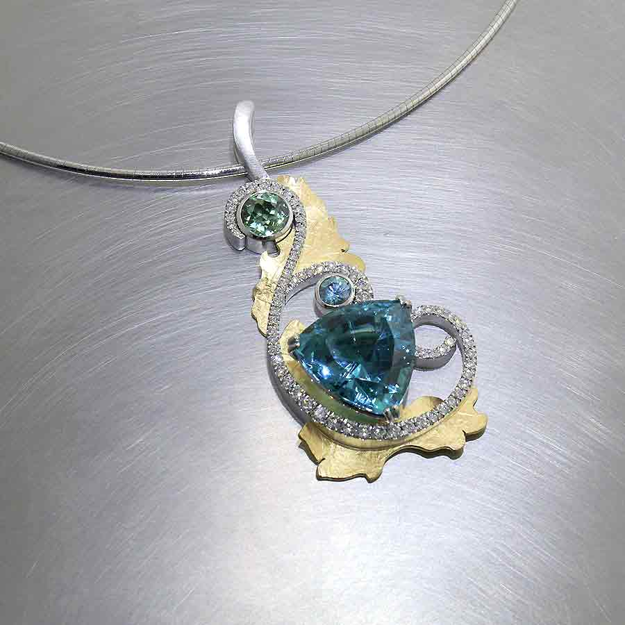 Style #23410477: Stunning Vintage Floral Motif Pendant Showcasing Natural Apatite, Blue Zircon, Mint-Green Tourmaline & Diamonds in Swirling Platinum & 22KT Gold Setting