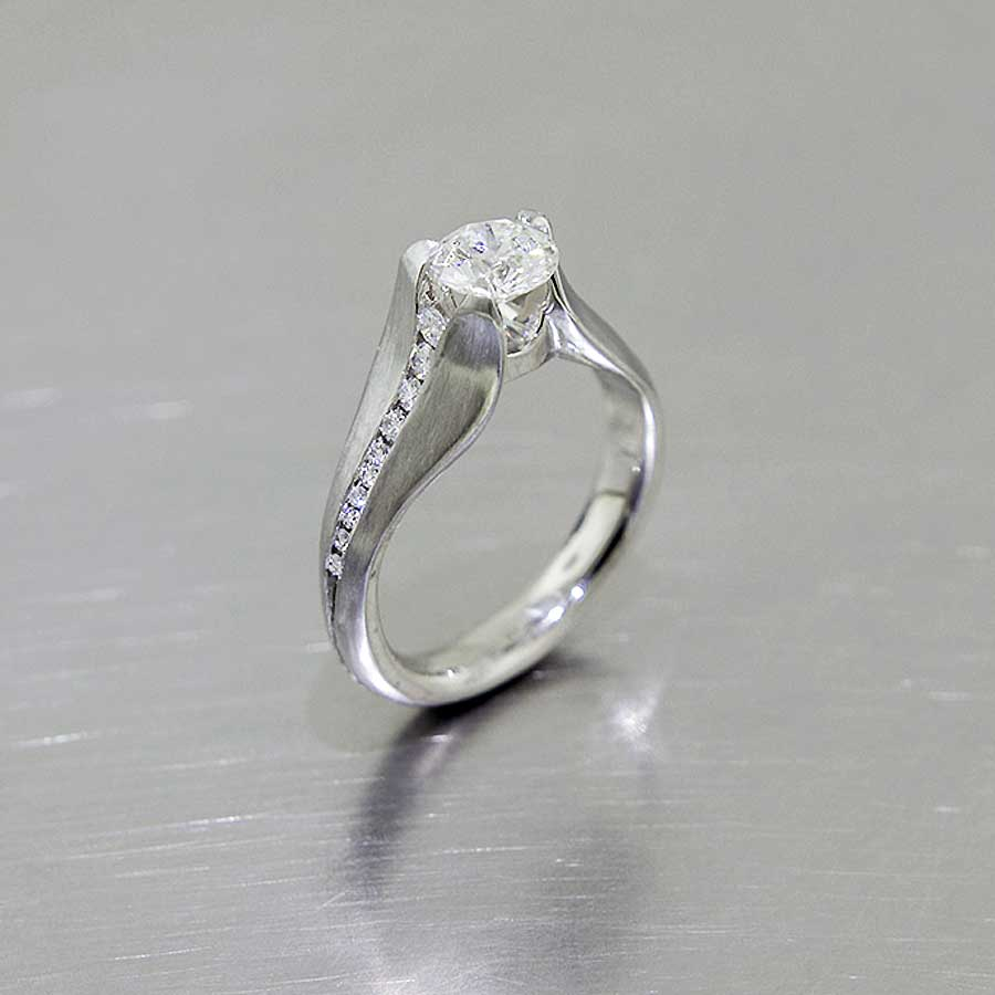 "Style #22010486: Asymmetric Diamond ""Tulip Petal"" Engagement Ring, Platinum"