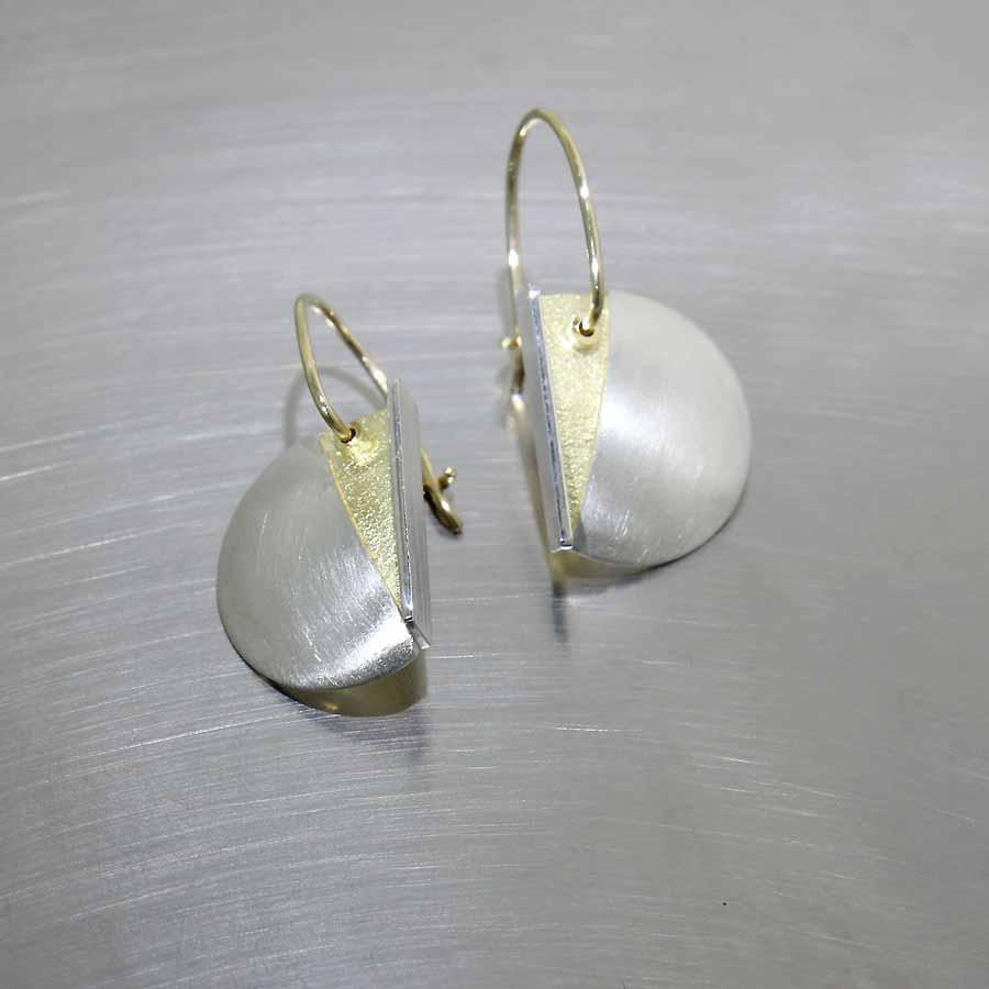 Style #28110444: Half-Moon Yellow Gold & Sterling Silver Drop Earrings