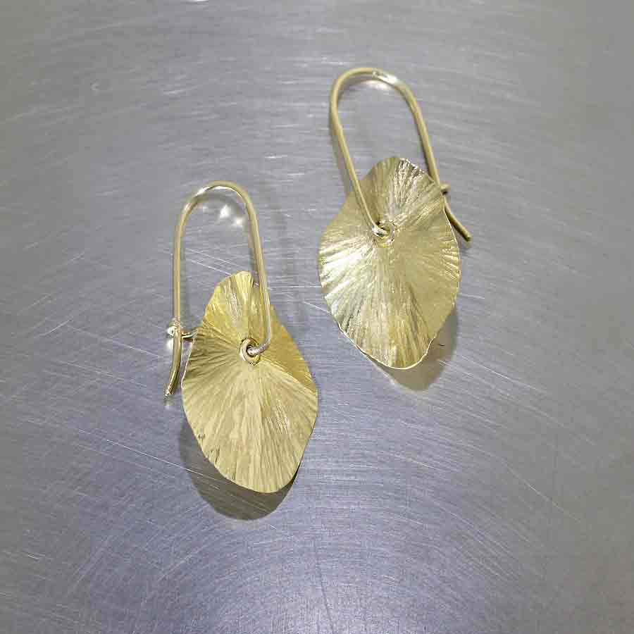 """Style #28110449: Swingy, Textured """"Lily Pad"""" Drop & Wire Hook Earrings, 18KY Gold"""