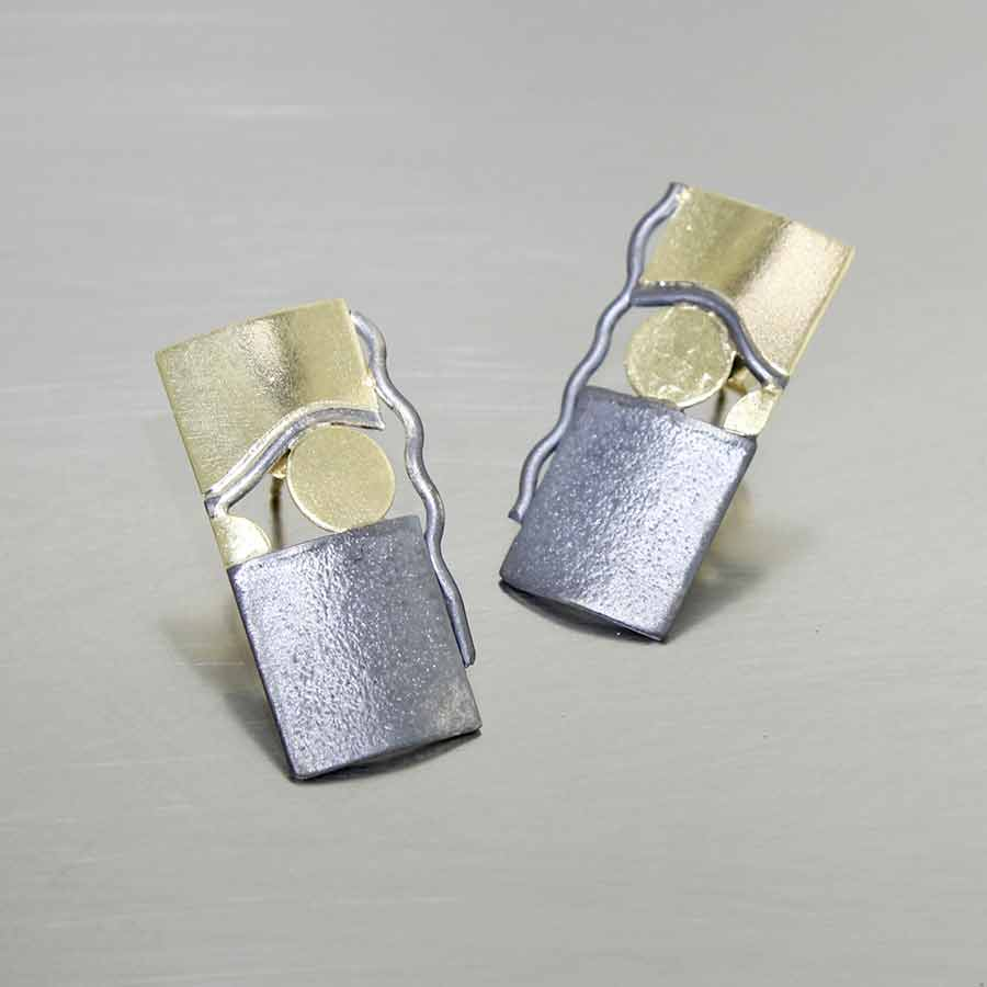 STYLE #28110437: Sterling Silver and 18K Yellow Gold Earrings