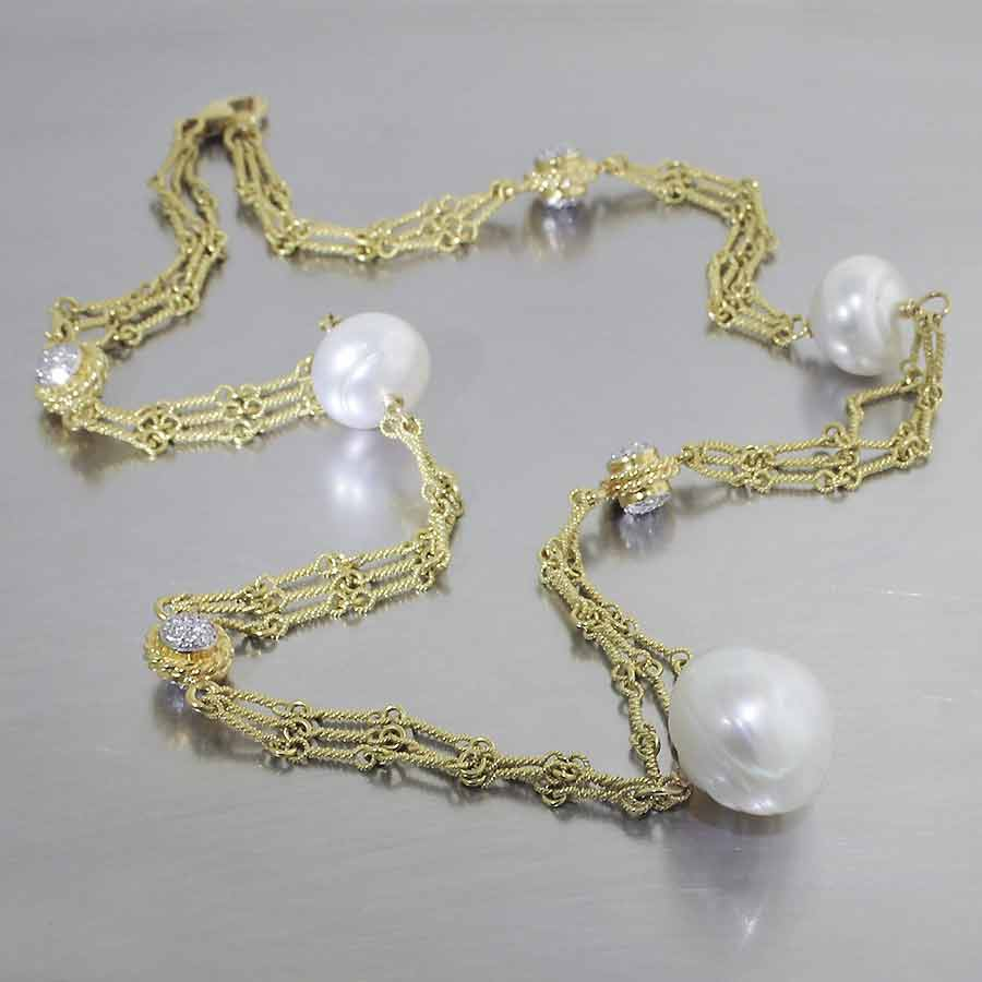 Style #24510231: Ornate 18KY Gold Tri-Strand Necklace Featuring 3 White South Sea Pearls & Diamond Cluster Accents