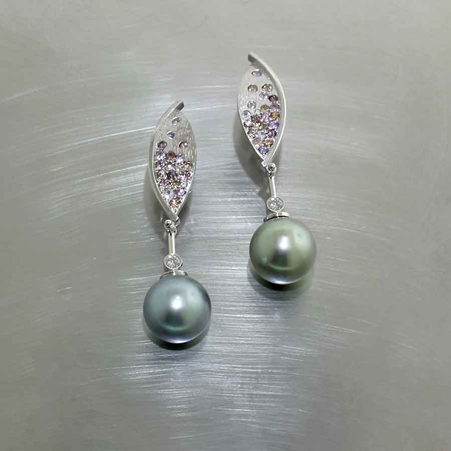 Style #24110681: Tahitian Pearl Dangle Earrings Featuring Multi-Colored Sparkling Sapphires & Diamonds, 14KW Gold