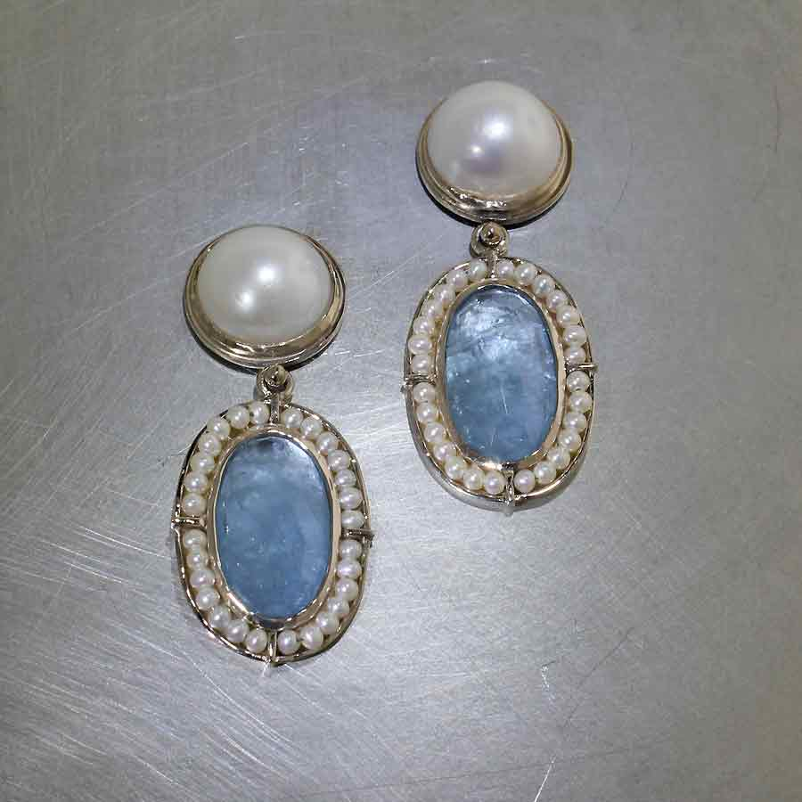 Style #23311064: Sophisticated, Vintage-Inspired Cleaved Pearl & Aquamarine Drop Earrings, 14KW Gold