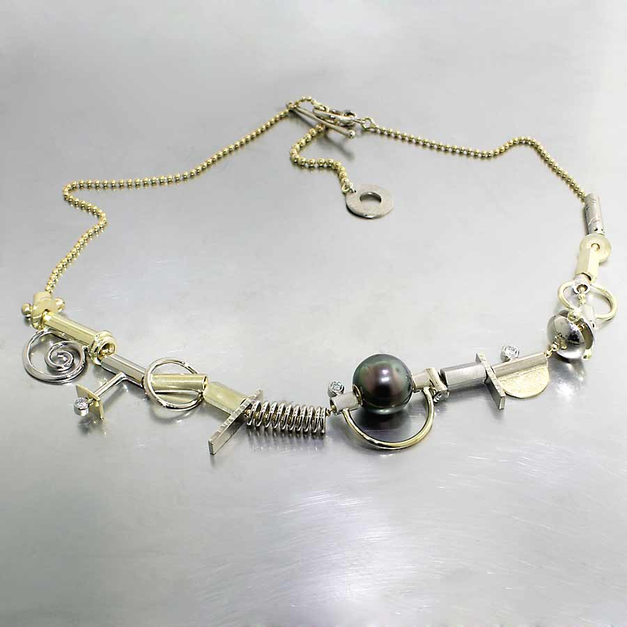 "Style #70010144: 21-Piece Tahitian Pearl & Diamond Adjustable ""Parts"" Collection Necklace, 18KY & 14KW Gold"