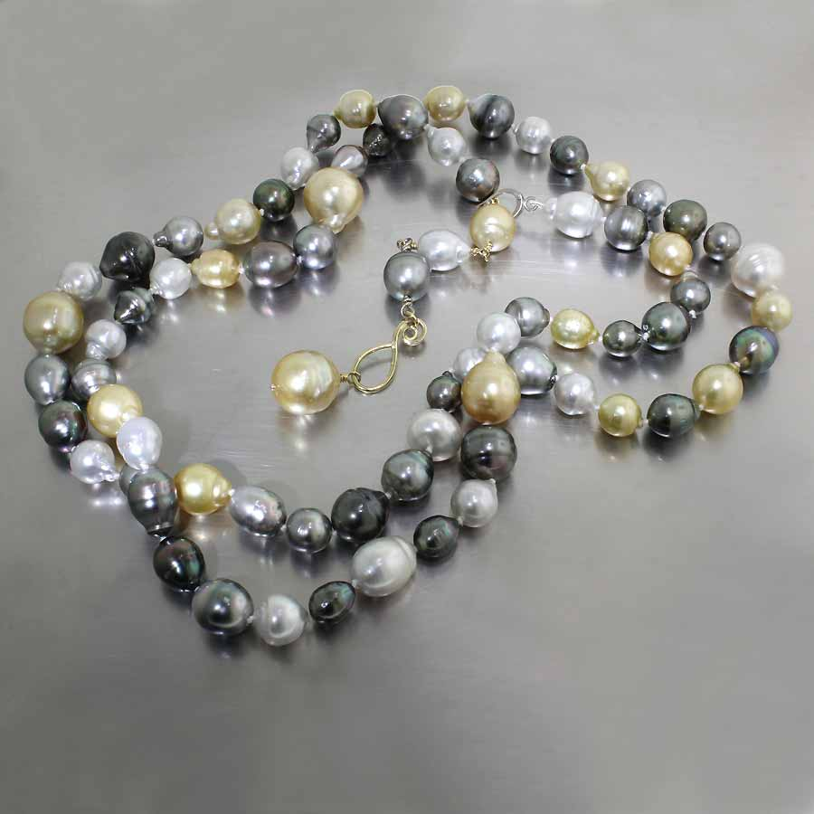 "Style #24410117: Extra-long 41"" Multi-Color Strand of Tahitian & South Sea Pearls w/ Adjustable-Length 18KY Gold Clip Clasp"