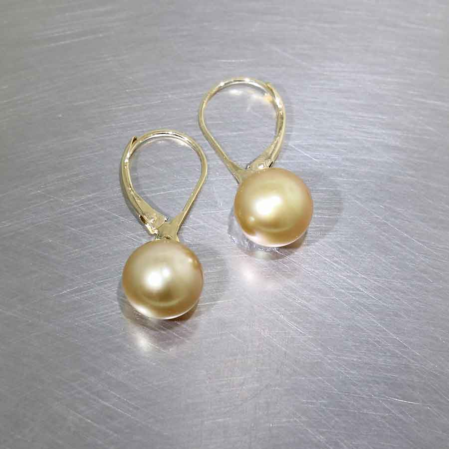 Style #24110692: Golden South Sea Pearl Drop Leverback Earrings, 18KY Gold