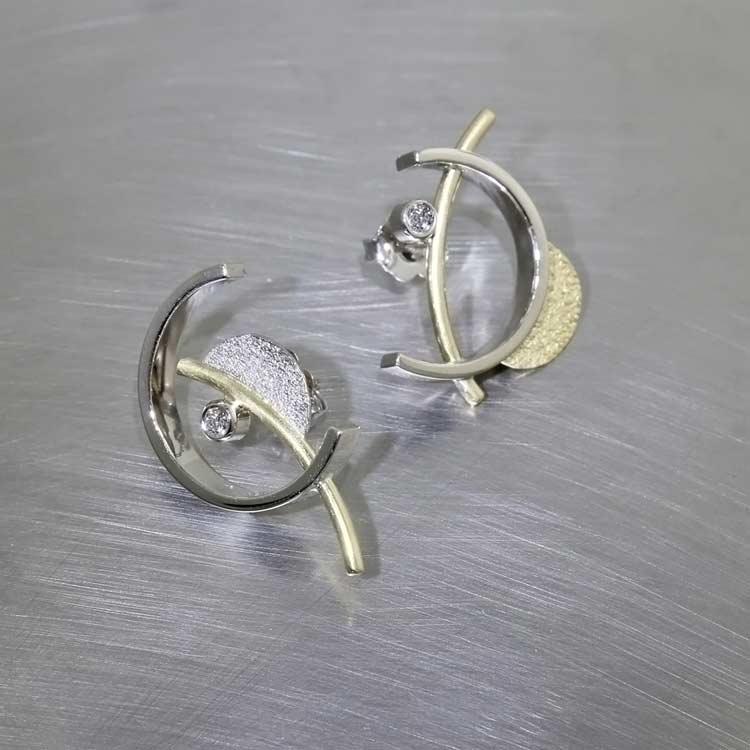 "Style #22110578: Modern ""C"" Curve Stud-Style Diamond Earrings, 18KY & 14KW"