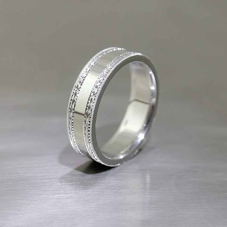 Hand-Engraved Comfort Fit Band, Platinum