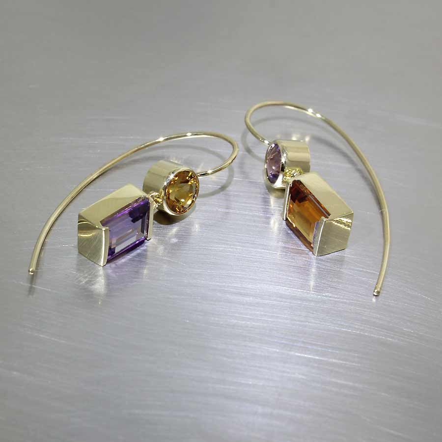 Asymmetrical Amethyst & Citrine Dangle Earrings, 18KY