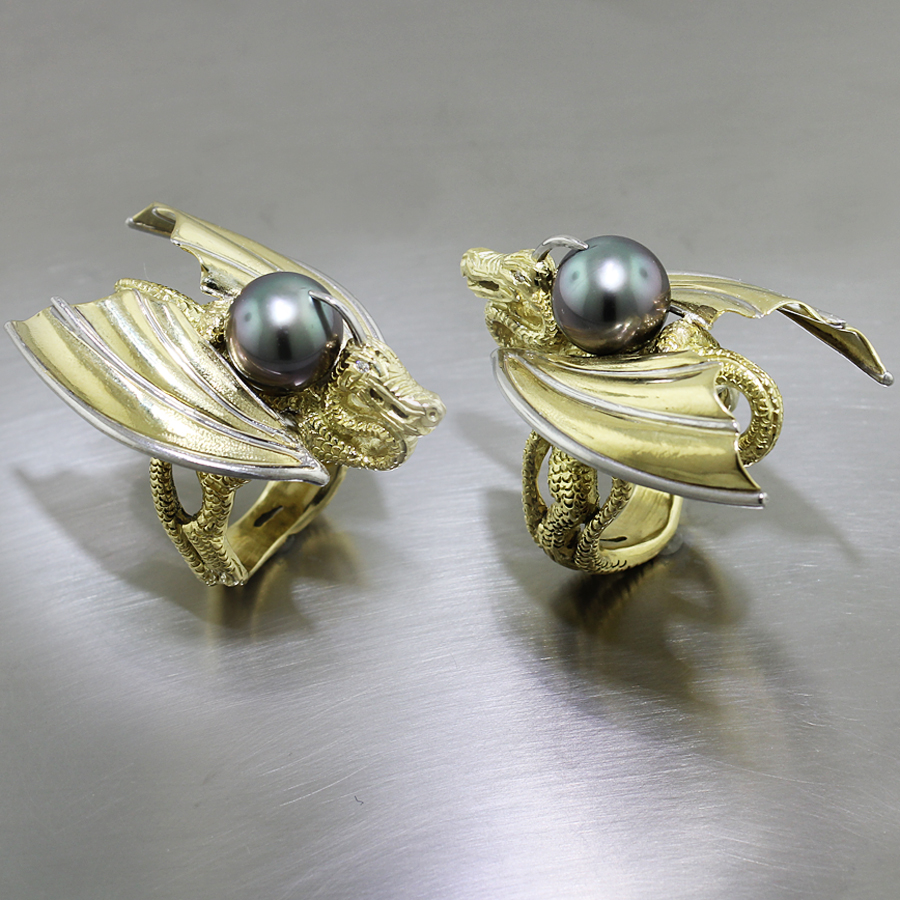 Dragon Ring with Lustrous Tahitian Pearl, 18KY & Platinum
