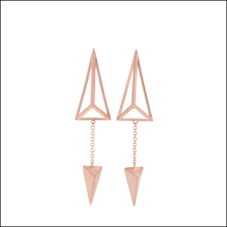 Geometric Triangular Frame Dangles, 14K Rose