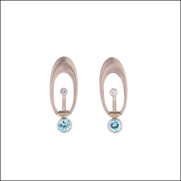 Natural Zircon & Diamond Open-Oval Swing Earrings, 14KW
