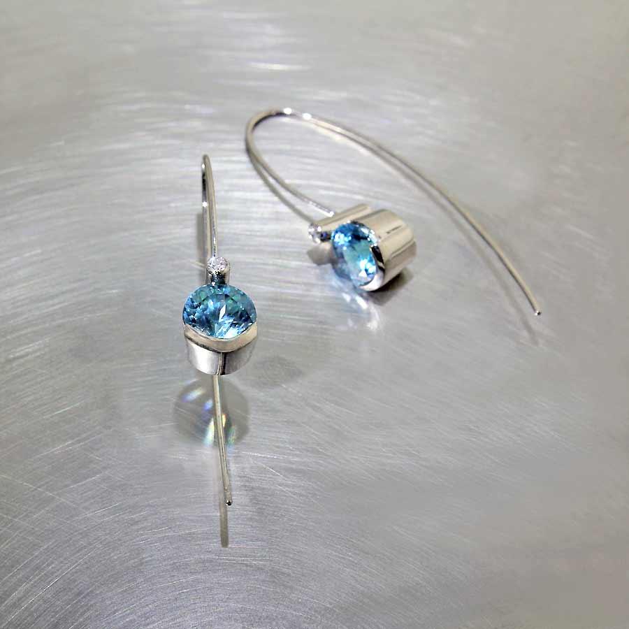 Blue Zircon Gemstone & Diamond Wire Hook Earrings, 14KW